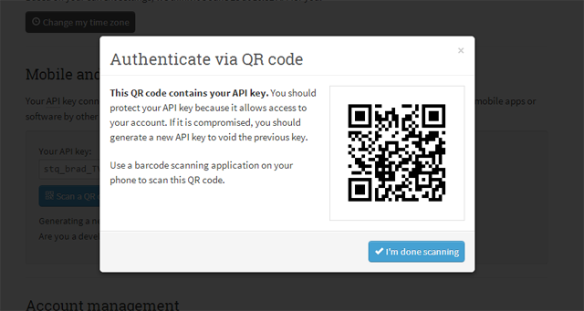 options page api qr code